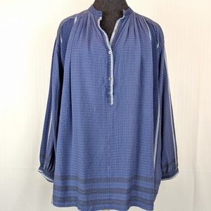 Free People   Blue Silver Henley Tunic Top Size Sm